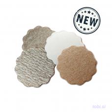 Wavy sanding discs with adhesive
